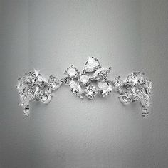 """Our glamorous 6 1/2"""" wedding bracelet blends pears, marquise & rounds in an elegant, sparkling mosaic. This silver rhodium plated cubic zirconia bracelet is also great for mothers of the bride and groom or pageants."""