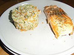 Quinoa aux légumes et pavé de saumon sans gluten, sans lait de vache, sans oeuf