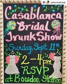 #Repost @seformalwear: BOOK YOUR APPOINTMENT NOW! Appointments booked now through the end of the Trunk Show will receive a $100 discount on any Casablanca Gown purchased .  Tickets are FREE for Sunday September 11th! Just click the link at the top of our Instagram page to register! Easy Peasy!!! BIG ANNOUNCEMENT!!! One LUCKY Bride will win a $500 Gift Certificate  toward one Casablanca Bridal Gown! (MUST be present to WIN)  Casablanca Trunk Show Sunday September 11th 2-4 pm! Follow the…