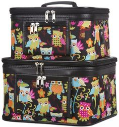 World Traveler Owl Print Cosmetic Train Case 2piece set ** Visit the image link more details.