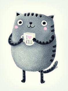 cat illustration I♥kill (brown) Art Print by Lime Illustration Mignonne, Cute Illustration, Crazy Cat Lady, Crazy Cats, Art Marron, Image Chat, Drawn Art, Photo Chat, Cat Drawing