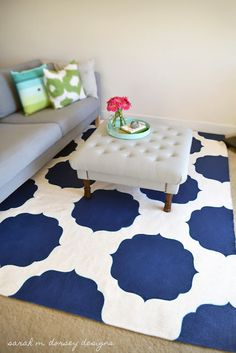 The 36th AVENUE | DIY Stenciled Morrocan Rug  SW loyal blue, fabric medium, plywood for the stencil, and a rug (5'11″ x 8'2″) from Ikea    then I created a design in illustrator – printed on several pieces of 8.5 x 11 which were taped together.