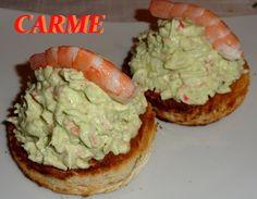 Montaditos+de+revuelto+de+aguacate+y+surimi