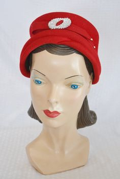 50s 60s Vintage Red Felt Turban Hat with by MyVintageHatShop