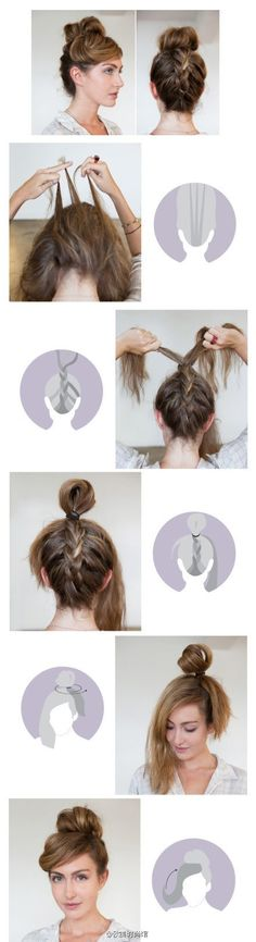 How to do a reverse french braid/top knot -- I've done something similar before, but I'd like to perfect it