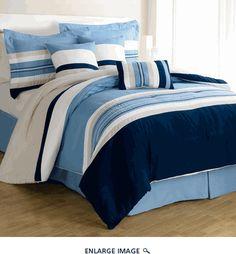 Navy Blue Comforter Sets Queen | Piece Queen Moty Stripes Blue Comforter Set