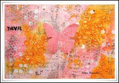 Neon Diary: Travel - Art Journal Page  Pink + Pink + Orange