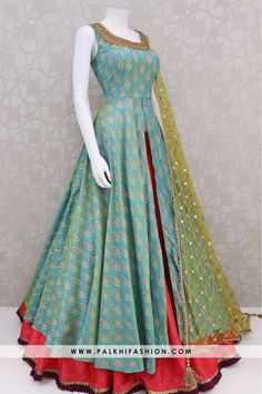 Teal patola silk weaving jacket enriched with red pure silk lehenga with soft net handworked dupatta Indian Gowns Dresses, Indian Fashion Dresses, Dress Indian Style, Indian Designer Outfits, Brocade Dresses, Jacket Lehenga, Lehenga Suit, Silk Lehenga, Saree