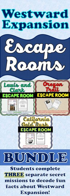 The Westward Expansion Escape Rooms BUNDLE will take students on three separate secret missions around the classroom! This escape room has students decode interesting facts Lewis and Clark, the Oregon Trail and the California Gold Rush. Sometimes students just need a day of movement around the room!
