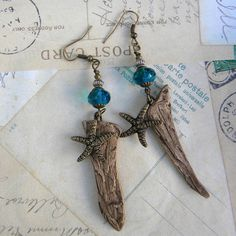 Driftwood Starfish Earrings  Clay Driftwood and Ocean by Msemrick, $26.00