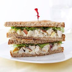Classic chicken salad can be made lighter with the help of plain low-fat yogurt and light mayonnaise. For an easy lunch recipe, combine the creamy concoction with cubed chicken and apple, then spread onto whole wheat bread.