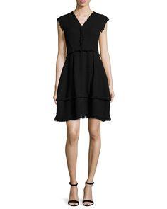 Sleeveless Tweed A-Line Dress, Black - Rebecca Taylor