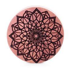 Mandala Two Saba Wood Plug - Custom Plugs - Best Ear Gauges, Flesh Tunnels For Stretched Ears - Engraved Woods - 1