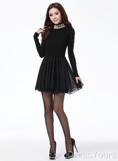New Fake Two Pieces Long Sleeve Stand Collar Sweater Dress