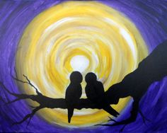 Love is in the air! There is nothing more romantic than watching two love birds, twittering and chirping merrily together. This nightscape silhouettes these lovers under the light of the beautiful moon.