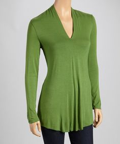 $44.99 - Take a look at this Leaf Split Neck Long-Sleeve Top by Miraclebody on #zulily today!