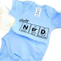 I'm not having a baby, but I want this for when I do! Baby Clothes Periodic Table Science Onesie - Blue. $14.00, via Etsy.
