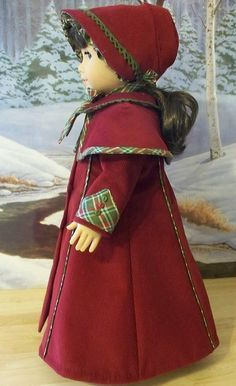 Another version of Keepers Dolly Duds pattern for an American Girl  Victorian Caroler costume.  I love the sleeve detail.