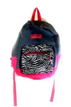 Trail-Maker-Girls-Pink-Grey-Black-Zebra-Stripe-Backpack-School-Books