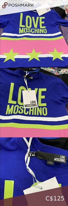 Love moschino shirt ( brand new) Multi color love moschino Love Moschino Tops Tees - Short Sleeve New Love, Navy Women, Handbags Michael Kors, Short, Pink And Green, Brand New, Tees, Closet, T Shirts