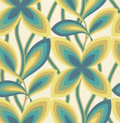 Starflower Little Greene Wallpapers - A real 1960's iconic image with its bands of colour, this design is a feature wall design with a strong, simple flowering trail. Shown in the Peacock blue colourway.