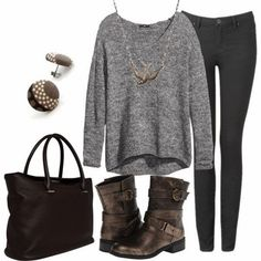 Winter fashion with sweater style shirt and skinny pant