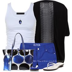 """Marine Blue Shorts"" by stay-at-home-mom on Polyvore"