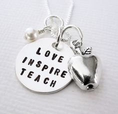 Teacher Gift - Apple Charm  - Sterling Silver Personalized - Patricia Ann Jewelry Designs. $41.50, via Etsy.