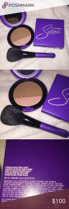 Selena MAC Brush and Bronze Blush duo Sold out not available anymore online ! Get the part of the collection to last and honor Selenas memory ! Brand new in package ... includes what you see ... accepting reasonable offers no trades MAC Cosmetics Makeup Blush