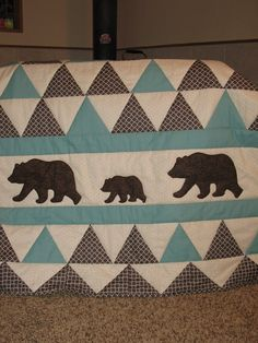 baby boy quilt grizzly bears and triangles charcoal cream and turquoise hand quilted crib quilt flannel backed