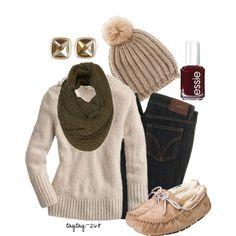 A fashion look from October 2012 featuring slim fit stretch jeans, square stud earrings and pom pom beanie hat. Browse and shop related looks. Fall Winter Outfits, Autumn Winter Fashion, Fall Fashion, Winter Wear, Winter Style, Cute Fashion, Fashion Outfits, Fashion Trends, Fashion Fashion