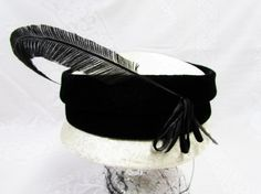 Vintage White and Black Feather Hat  Pillbox Style by EtagereLLC