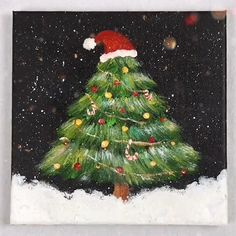 Acrylic Painting Trees, Canvas Painting Tutorials, Diy Canvas Art, Diy Painting, Art Drawings For Kids, Art Drawings Sketches Simple, Christmas Paintings, Christmas Art, Cool Paintings