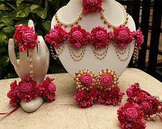 Flower Jewellery For Mehndi, Fancy Jewellery, Flower Jewelry, Bridal Jewellery, Thread Jewellery, Flower Earrings, Jewelry Design Earrings, Indian Jewelry Earrings, Etsy Earrings