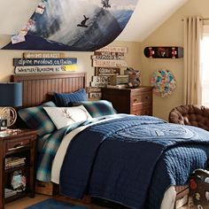 Snowboarding Theme With Dark Wood Bedding Also Blue Quilt And Table Lamp Near Leather Chair