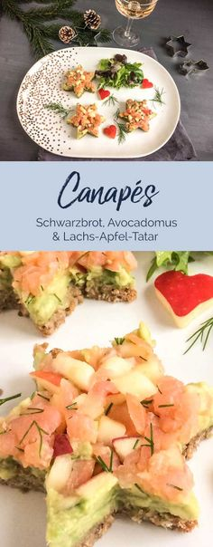 Weihnachtliche Vorspeise: Canapes aus Schwarzbrot mit Avocadomus und Lachs-Apfel… Christmas starter: black bread canapes with avocado and salmon and apple tartare Avocado Recipes, Salmon Recipes, Lunch Recipes, Healthy Appetizers, Healthy Snacks, Healthy Recipes, Ideas Para Canapés, Salmon Tartare, Avocado Dessert