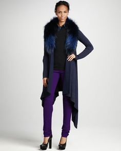 Emerson Fur-Collar Cardigan & Skinny Jeans by Alice + Olivia at Neiman Marcus.