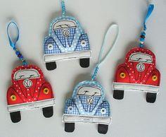 VW Beetle Ornament. Textile Volkswagen Love Bug by SwinkyDoo