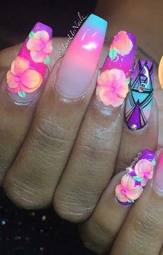Neon floral #nails design #nailart