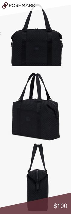 HERSCHEL STRAND DUFFLE | WOVEN black NWT Dimensions: 12''(H) x 17''(W) x 5.5''(D), 28.5L Interlaced webbing exterior Internal mesh storage sleeve Two-way waterproof zipper with Icon pull-tabs and custom stitched binding External center storage sleeve Seatbelt webbing trolley strap and EVA reinforced carrying handles Snap-down side extension closure with Prusik cord loop pulls Ballistic nylon base Tonal classic woven label Herschel Supply Company Bags Travel Bags