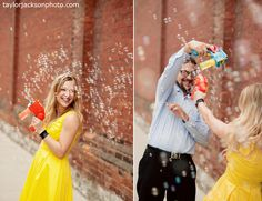 Really fun engagement photos - with bubbles