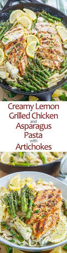 Creamy Lemon Grilled Chicken, Asparagus and Artichoke Pasta