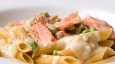 This is a lighter version of pasta carbonara. For people who want the flavor but not the bacon, smoked salmon is the perfect substitute!