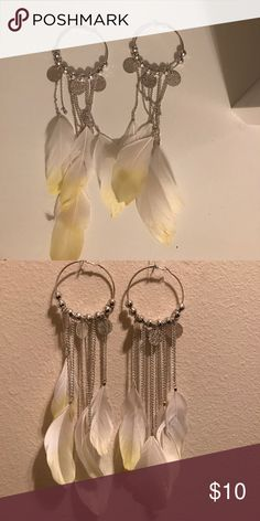 BeBe earrings Yellow and white feather hoop earrings... bebe Jewelry Earrings