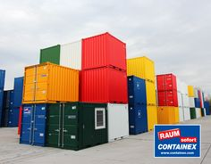 CONTAINEX offers portable cabins, sanitary cabins, storage containers, shipping containers as well as modular buildings for immediate use. Tiny House Shipping Container, Portable Cabins, Storage Containers, Cool Stuff, Cool Ideas, Yellow, Architecture, Blue, Colors