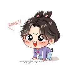 Bts Chibi, Cute Baby Wallpaper, Cartoon Wallpaper, Bts Wallpaper, Jungkook Fanart, Jungkook Cute, Bts Name, Bts Book, Chibi Characters