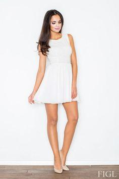 Sukienka z koronkową górą w odcieniach ecru