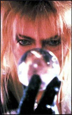 Jareth the Goblin King. He was my very first crush, Jennifer Connelly as Sarah and David Bowie as Jareth in the magical ballroom scene in 'Labyrinth' Movie 1986  crystal ball