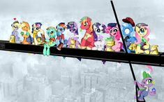 Lunch atop a Skyscraper - Ponified by InkyPsycho on deviantART My Little Pony Games, Mlp My Little Pony, My Little Pony Friendship, Lunch Atop A Skyscraper, Big Macintosh, Lyra Heartstrings, Some Beautiful Pictures, Fluttershy, Twilight Sparkle