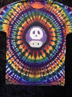 Adult Large Tie Dyed Mario Poison Mushroom Tee by JoyfulTieDyes